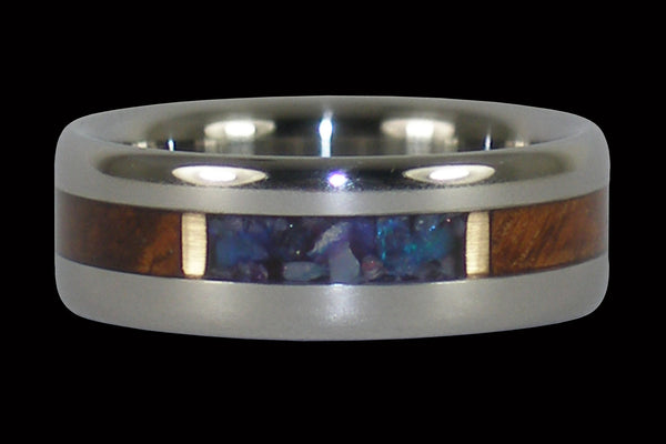 Opal Titanium Ring Band