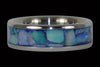 Blue Australian Opal Titanium Ring - Hawaii Titanium Rings  - 1