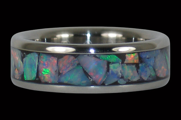 Rainbow Opal Titanium Ring Band