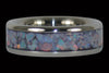 Red Australian Opal Titanium Ring Bands - Hawaii Titanium Rings  - 2