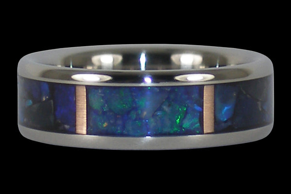 Black Opal and Rose Gold Titanium Ring