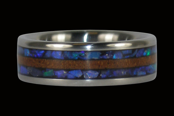 Black Opal and Koa Wood Hawaii Titanium Ring®
