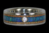 Diamond Titanium Rings with Blue Opal - Hawaii Titanium Rings  - 2