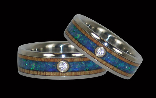 Diamond Titanium Rings with Blue Opal