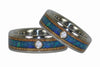 Diamond Titanium Rings with Blue Opal - Hawaii Titanium Rings  - 4