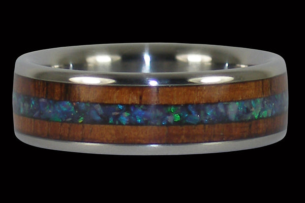 Titanium Ring with Black Opal and Koa Wood Inlays