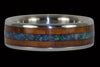 Titanium Ring with Black Opal and Koa Wood Inlays - Hawaii Titanium Rings  - 1