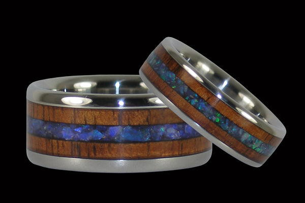 Australian Opal and Hawaiian Koa Titanium Ring Set From Hawaii Titanium Rings®