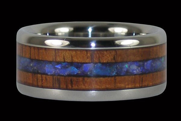 Rare Australian Opal and Koa Wood Hawaii Titanium Ring®