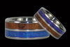 Australian Blue Opal and Hawaiian Koa Titanium Rings - Hawaii Titanium Rings  - 2