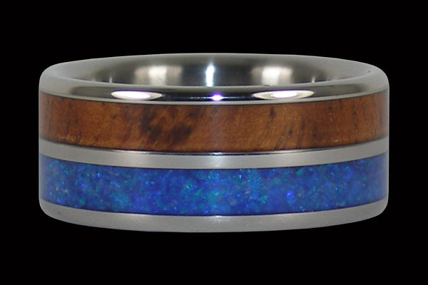 Australian Blue Opal and Hawaiian Koa Titanium Rings