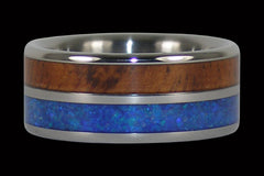 Australian Blue Opal and Hawaiian Koa Titanium Rings - Hawaii Titanium Rings  - 1