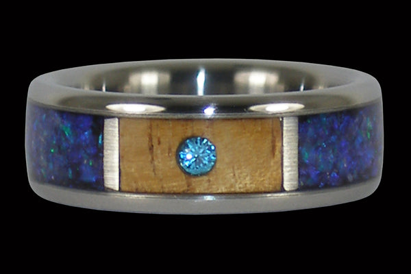 Diamond Koa Wood Blue Opal Wedding Ring Band