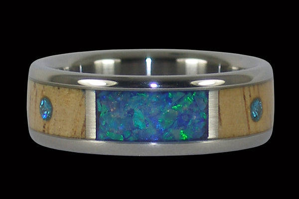 Blue Diamond Titanium Ring with Koa and Opal
