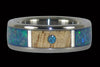 Blue Diamond Titanium Ring with Koa and Opal - Hawaii Titanium Rings  - 2