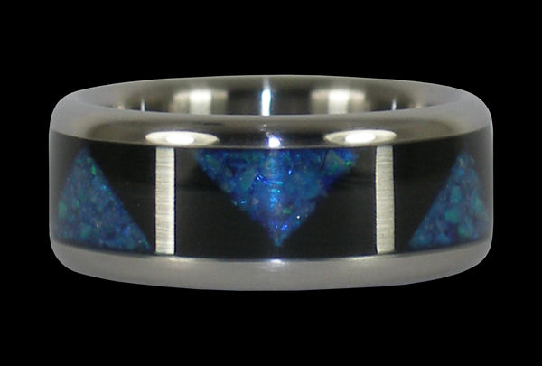 Opal Titanium Rings with Drum Design