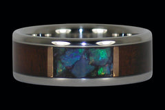 Milo Wood with Australian Blue and Green Opal Ring - Hawaii Titanium Rings  - 1