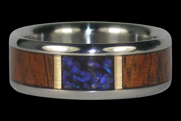 Titanium Ring with Opal and Wood Inlay