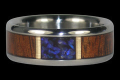Titanium Ring with Opal and Wood Inlay - Hawaii Titanium Rings  - 1