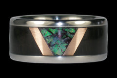 Green Opal Titanium Ring Band with Blackwood and Gold - Hawaii Titanium Rings