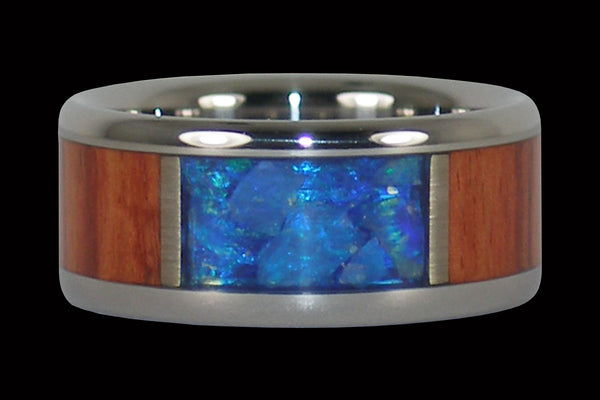 Blue Australian Opal Titanium Ring with Tulip Wood