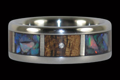 Titanium Ring with Opal and Diamonds - Hawaii Titanium Rings  - 1