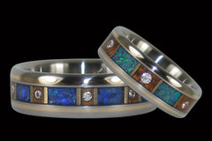 Australian Opal and Diamond Titanium Rings - Hawaii Titanium Rings  - 1