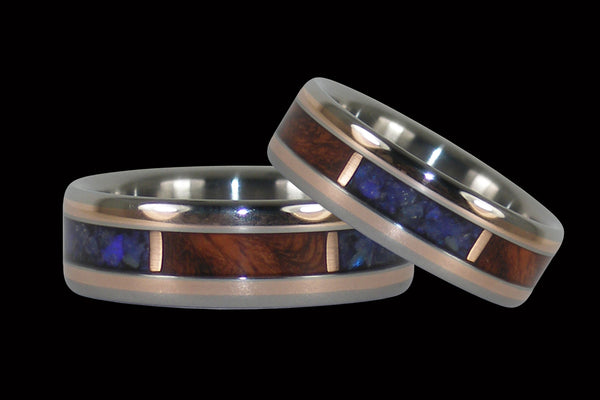 Black Opal and Amboina Hawaii Titanium Ring® Set