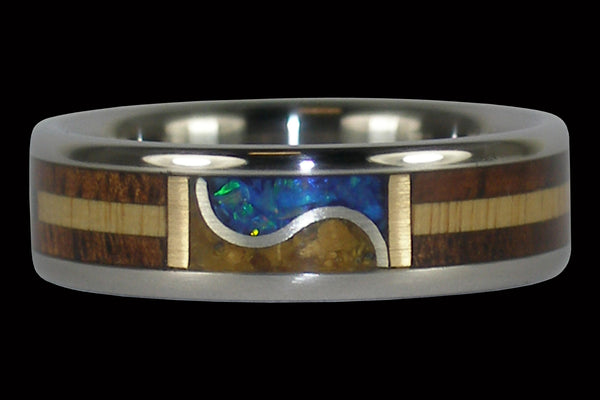 Low Tide Blue Opal Titanium Ring