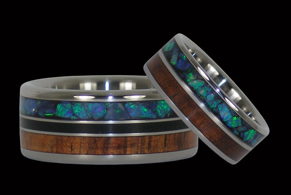 Australian Opal and Koa Titanium Ring Bands