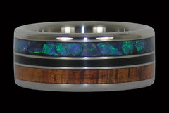 Green Opal and Black Jet Titanium Rings - Hawaii Titanium Rings  - 1