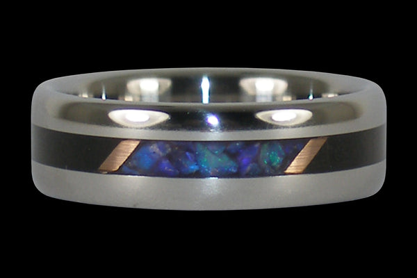 Black Opal and Black Wood Hawaii Titanium Ring®
