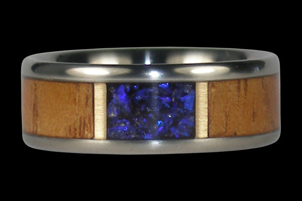 Black Opal and Light Koa Hawaii Titanium Ring®