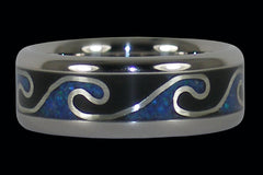 Blue Opal and Black Onyx Titanium Surf Ring - Hawaii Titanium Rings  - 1