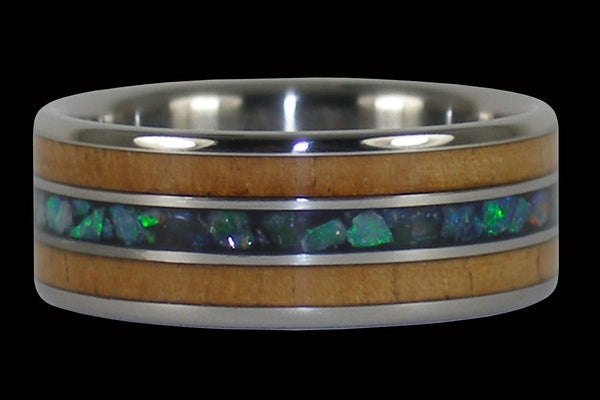 Australian Opal and Koa Hawaii Titanium Ring®