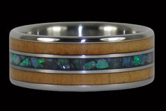Australian Opal and Koa Titanium Ring - Hawaii Titanium Rings