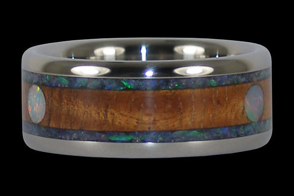 Koa and Opal Cabochon Titanium Ring