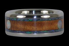 Koa and Opal Cabochon Titanium Ring - Hawaii Titanium Rings  - 1