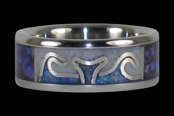 Whales Tail Opal Titanium Ring