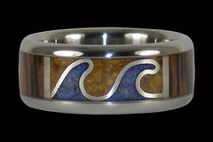 Tidal Wave Ring with Wood and Opal - Hawaii Titanium Rings