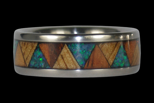 Exotic Wood and Opal Tribal Drum Titanium Ring