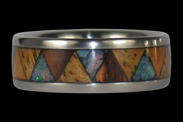 Opal and Exotic Wood Titanium Ring