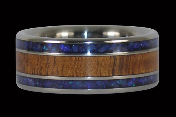Koa Wood and Black Opal Titanium Ring