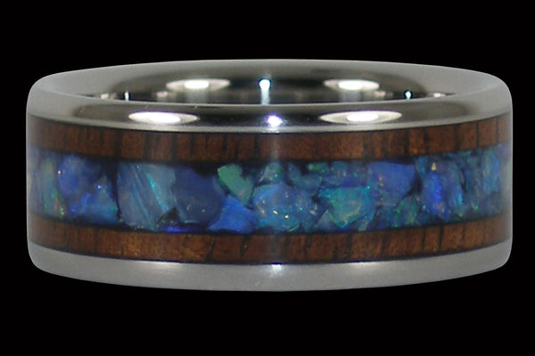 Blue Opal and Koa Wood Titanium Ring