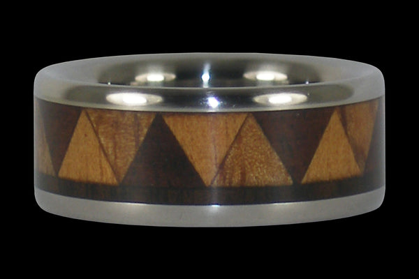 Tribal Titanium Ring Band with Exotic Wood Inlay