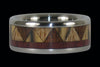 Tribal Titanium Ring Band with Exotic Wood Inlay - Hawaii Titanium Rings  - 2