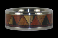Titanium Ring with Tribal Design Wood Inlay - Hawaii Titanium Rings