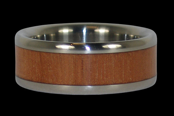 Mahogany Wood Titanium Ring Band