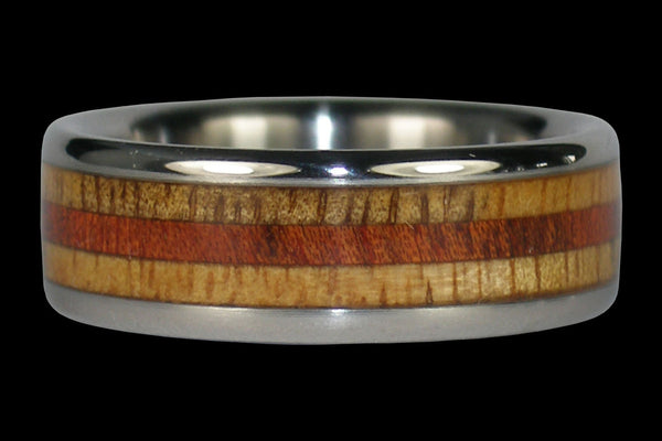 Titanium Ring with Hawaiian Woods