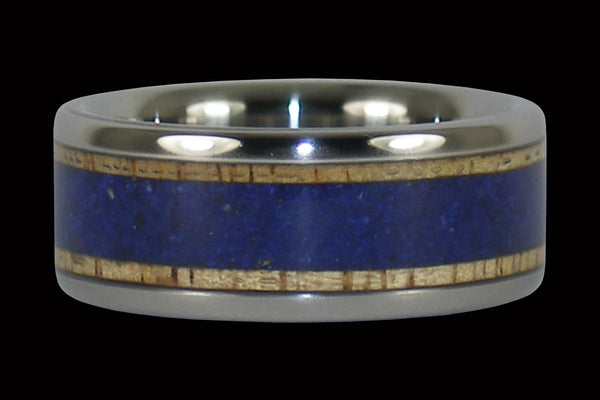 Titanium Rings with Mango Wood and Lapis